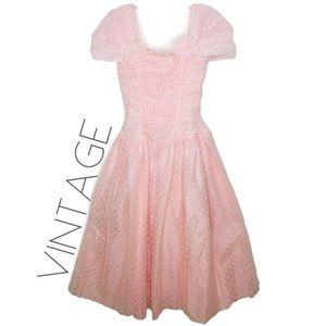 Vintage pink swiss dot tea party dress  8 M 0102
